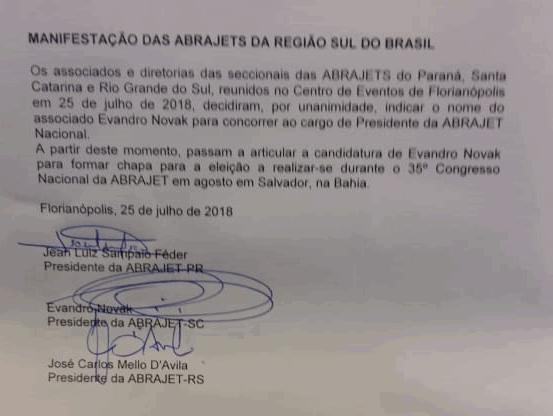 Abrajet's do Sul lançam candidatura de Evandro Novak para a presidência nacional durante o Encatho